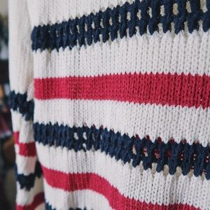 Cream/Navy/Red Striped Sweater.